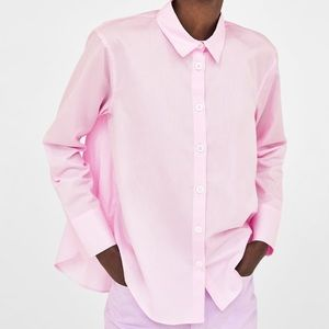 Zara pastel pink shirt with contrasting buttons